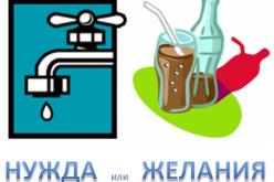 Нужда или желание = вода или газирана напитка = плюс или минус?